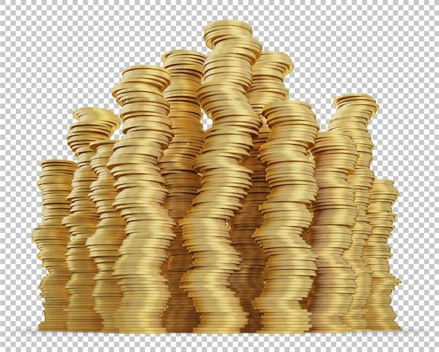 Pilha de moedas de ouro isoladas de renderização em 3d Psd Premium