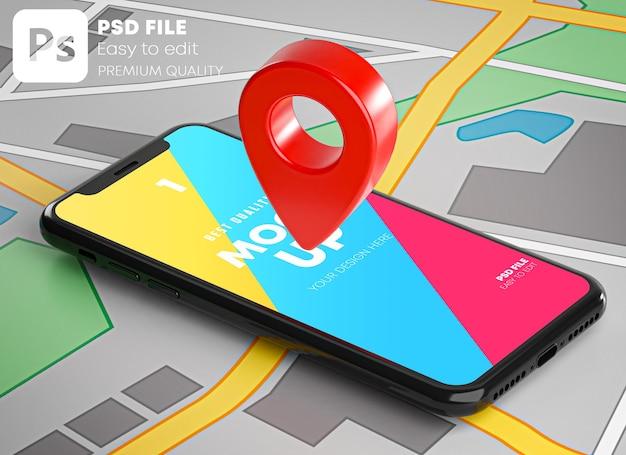 Pin gps vermelho no smartphone e maquete de mapa em renderização 3d Psd Premium