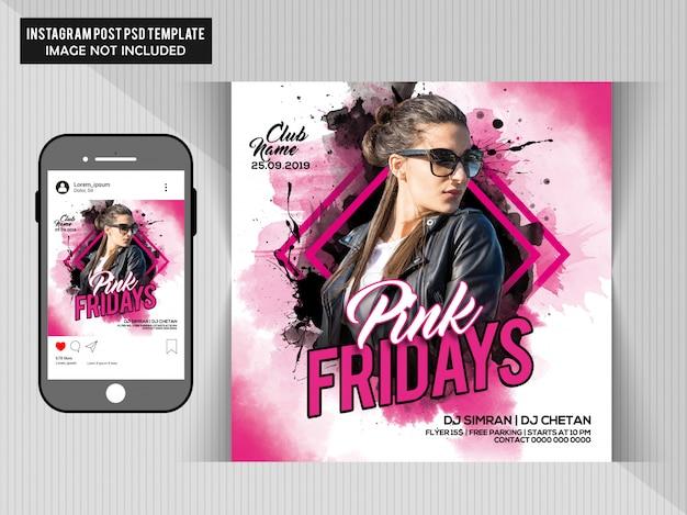 Pink fridays party flyer Psd Premium