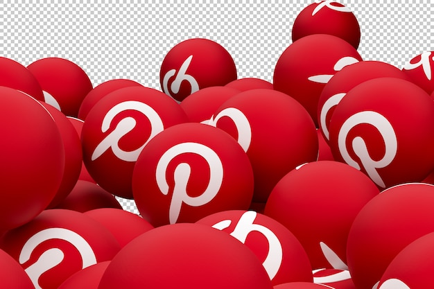Pinterest emoji logotipo 3d render Psd Premium