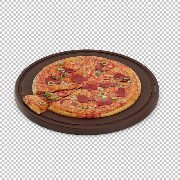 Pizza isométrica tábua de madeira Psd Premium