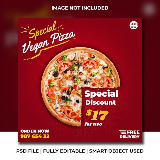 Pizza italiana fast food restaurante vermelho premium instagram post de mídia social Psd Premium