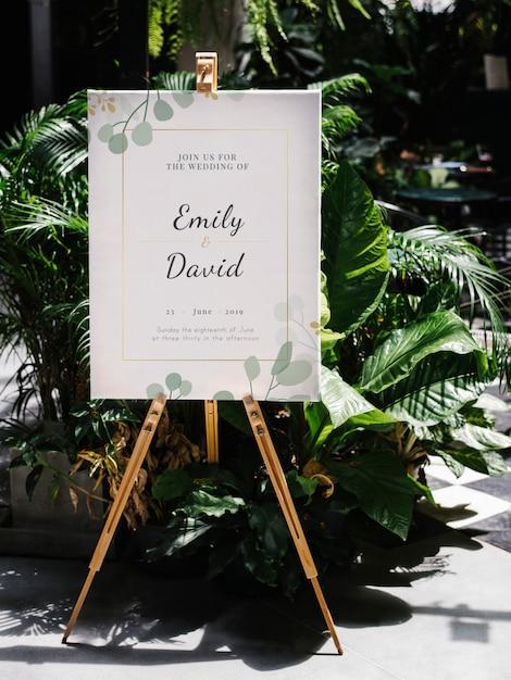 Placa de boas vindas do casamento Psd Premium