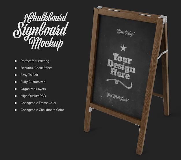 Placa de café em pé com maquete de quadro negro Psd Premium