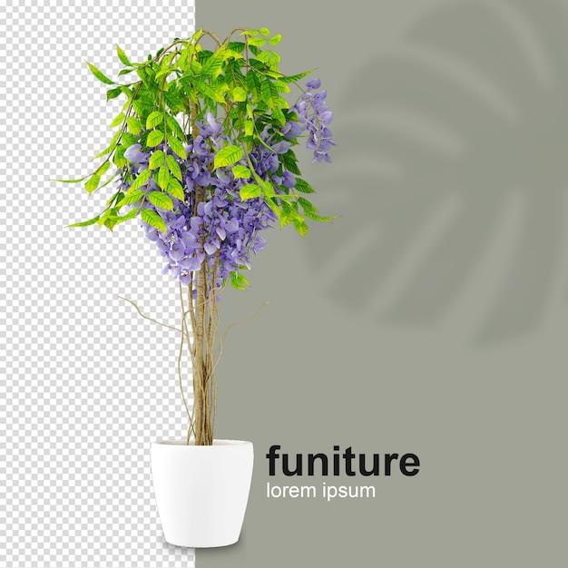 Planta isométrica em renderização 3d Psd Premium