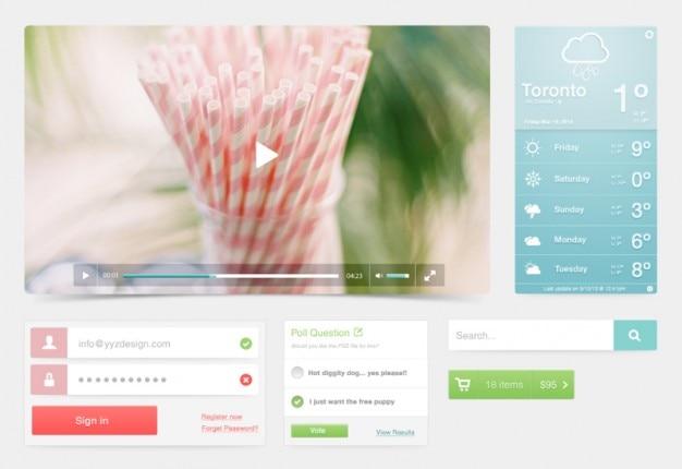 Player de vídeo em um kit ui em tons pastel Psd grátis