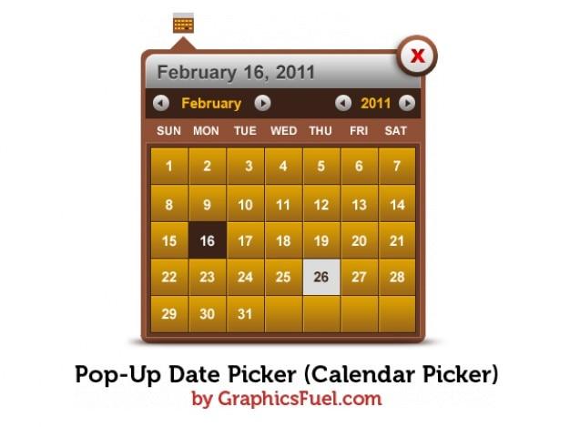 Pop-up selecionador de data do calendário selecionador psd Psd grátis