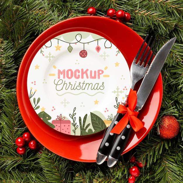 Posição plana da deliciosa maquete de comida de natal Psd grátis