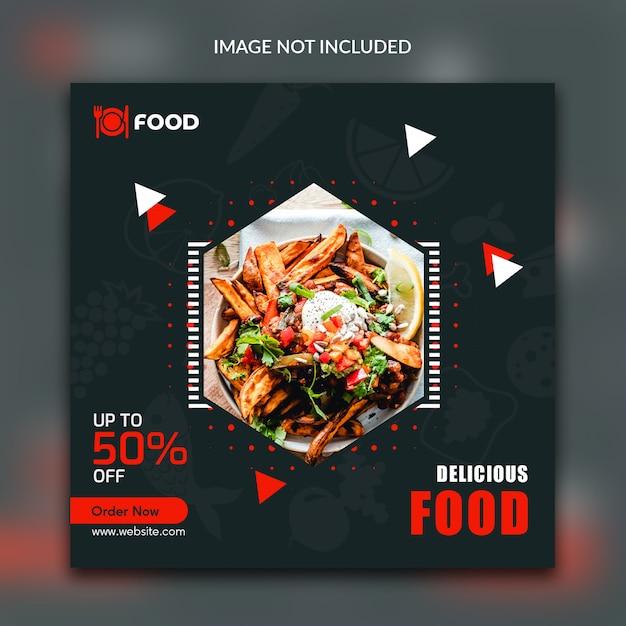 Post de banner quadrado do instagram de alimentos Psd Premium