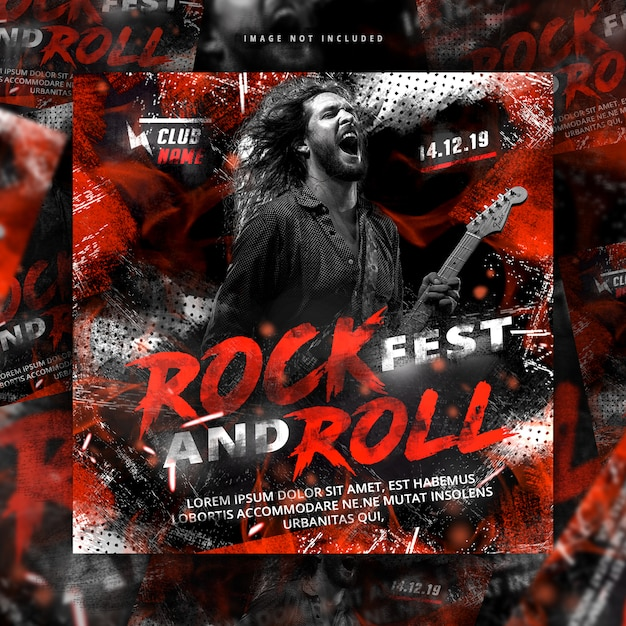 Post de flyer de rock and roll Psd Premium