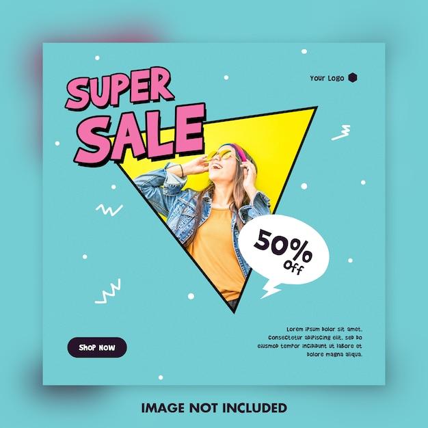 Post de grande venda de desenhos animados para mídias sociais Psd Premium