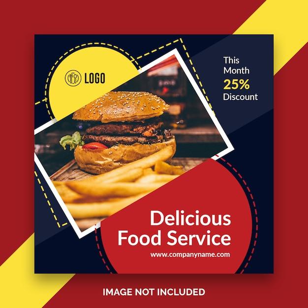 Post de instagram de restaurante de comida, banner quadrado ou modelo de panfleto Psd Premium