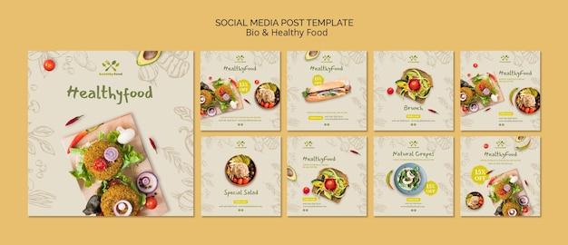 Post de mídia social com alimentos saudáveis e biológicos Psd Premium