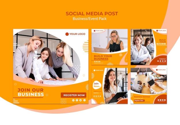 Post de mídia social com equipe de negócios Psd grátis