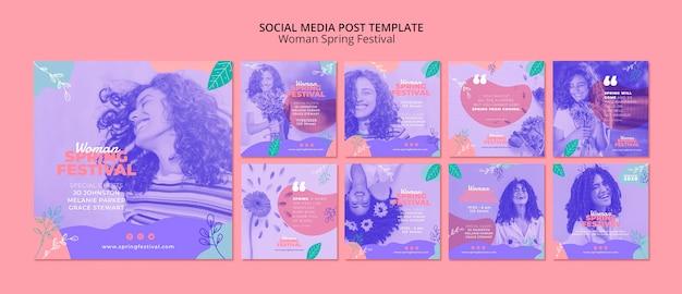 Post de mídia social com festival de primavera de mulher Psd grátis