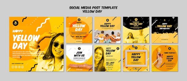 Post de mídia social com modelo de dia amarelo Psd grátis