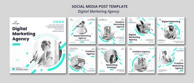 Post de mídia social da agência de marketing digital Psd grátis