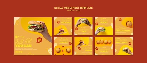 Post de mídia social de comida americana Psd grátis