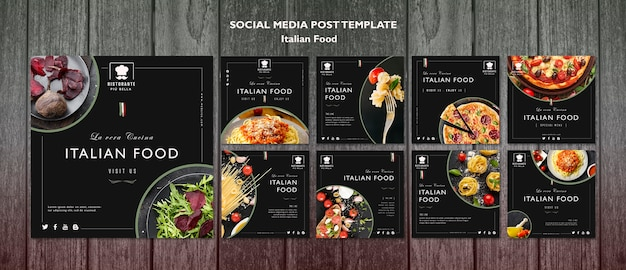 Post de mídia social de comida italiana Psd grátis