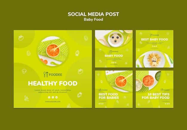 Post de mídia social de comida para bebê Psd grátis