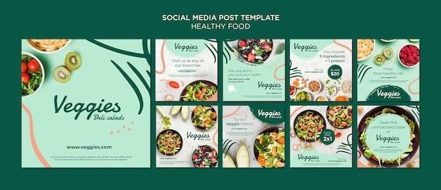 Post de mídia social de comida saudável Psd grátis
