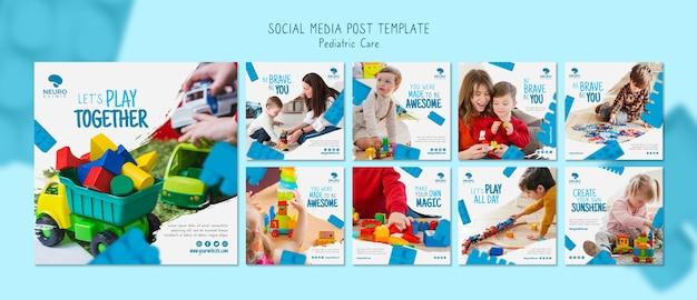 Post de mídia social de conceito de atendimento pediátrico Psd grátis