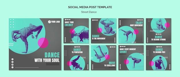 Post de mídia social de dança de rua Psd grátis