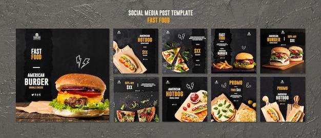 Post de mídia social de fast food Psd Premium