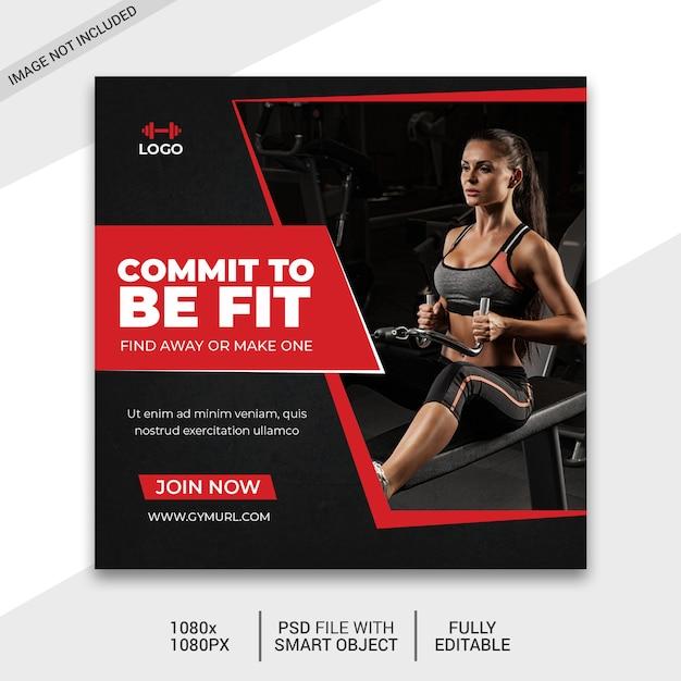 Post de mídia social de fitness Psd Premium