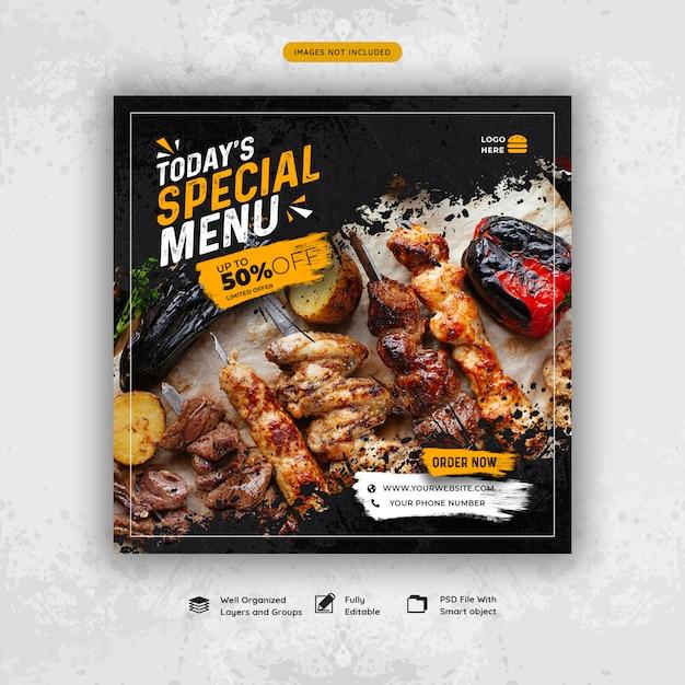 Post de mídia social de menu de comida de restaurante Psd Premium