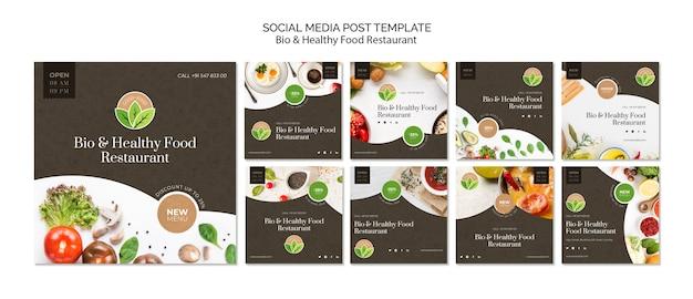 Post de mídia social de restaurante de comida saudável Psd grátis