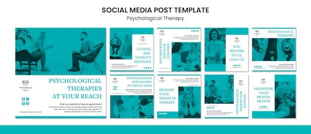 Post de mídia social de terapia psicológica Psd grátis