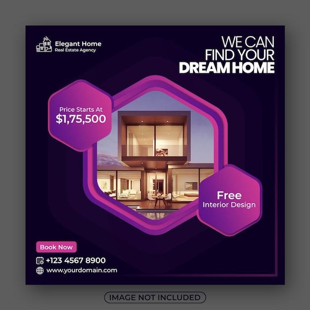 Post de mídia social imobiliária ou banner da web Psd Premium