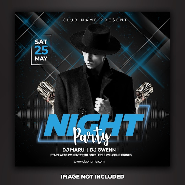Post de mídia social modelo instagram dj club party music Psd Premium