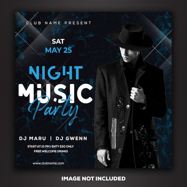 Post de mídia social modelo instagram dj club party music Psd Premium
