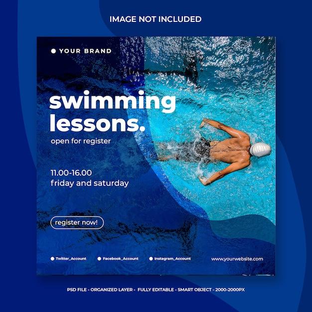 Post de mídia social para aulas de natação Psd Premium