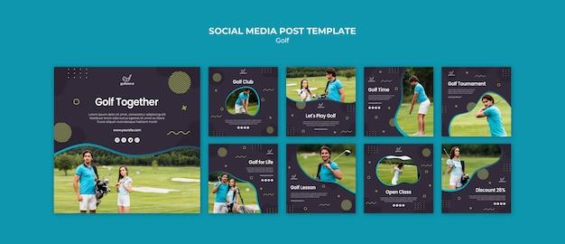Post de mídia social praticando golfe Psd grátis