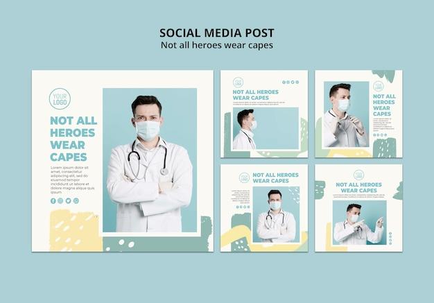 Post de mídia social profissional médico Psd grátis