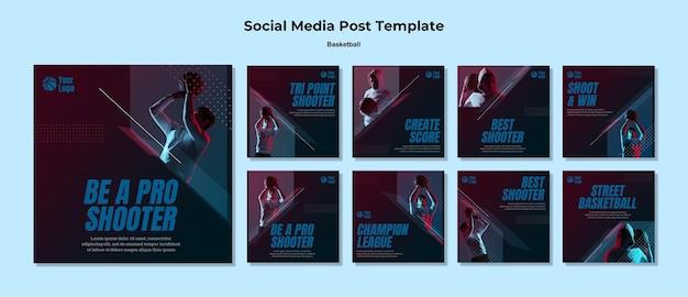 Postagem de basquete nas redes sociais Psd grátis