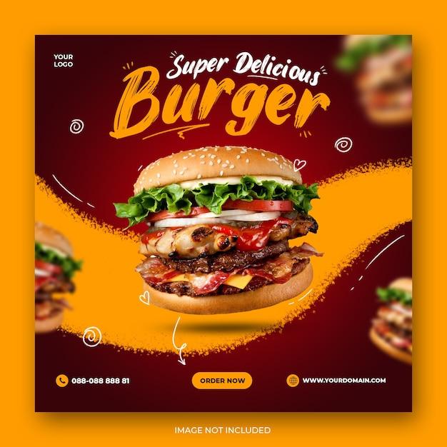 Postagem de mídia social de fast food ou modelo de banner Psd Premium