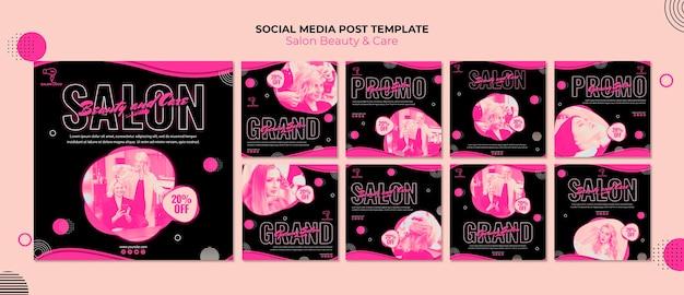 Postagem de mídia social de salão de beleza Psd Premium