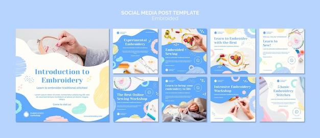 Postagem de mídia social embroided Psd Premium