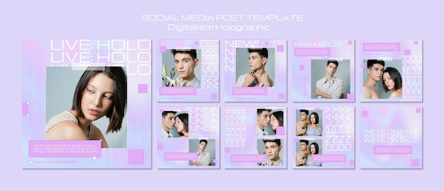 Postagem de mídia social holográfica de digitalismo Psd Premium