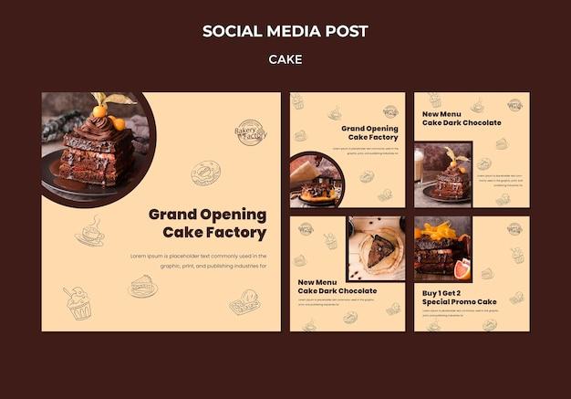 Postagem de mídia social sobre a inauguração de uma fábrica de bolos Psd grátis