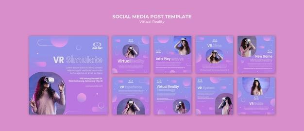 Postagem de realidade virtual juntos na mídia social Psd grátis