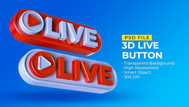 Postagem de transmissão ao vivo de mídia social com botão 3d live Psd Premium