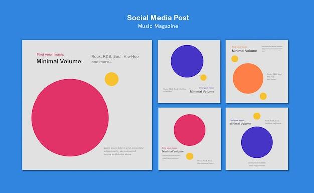 Postagem em mídia social de revista de música Psd grátis