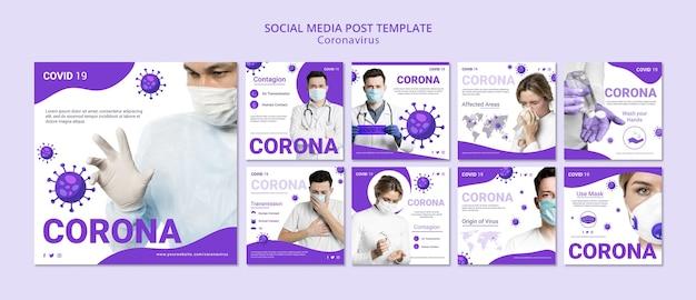 Postagem em mídia social do coronavírus Psd grátis