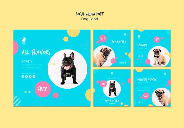 Postagem em mídia social sobre a compra de alimentos para cães Psd grátis