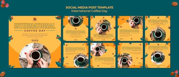 Postagem nas redes sociais do dia internacional do café Psd grátis